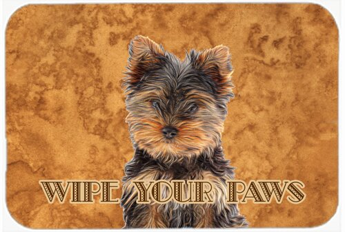 Yorkie Puppy / Yorkshire Terrier Wipe Your Paws Kitchen/Bath Mat by Caroline's Treasures