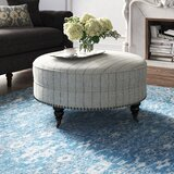 Scott 37.5 Round Striped Cocktail Ottoman by Feminine French Country