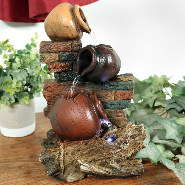 Resin Rustic Brick Wall and Jugs Tabletop Fountain with Light by Wildon Home ®