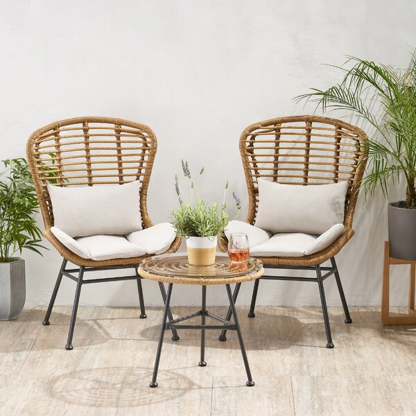 Nagata Chat 3 Piece Seating Group with Cushions by Bungalow Rose