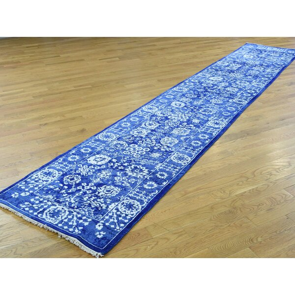 One-of-a-Kind Bean Tabriz Handwoven Blue Wool/Silk Area Rug by Isabelline