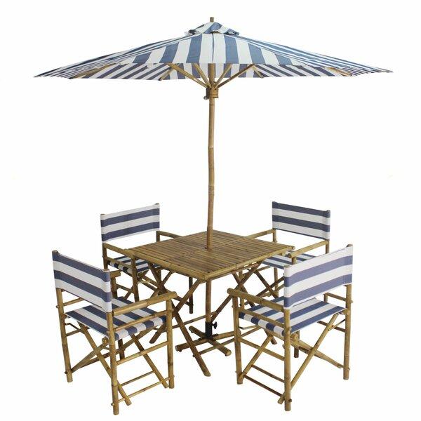 Jaliyah Patio 5 Piece Dinning Set with Umbrella Bayou Breeze W001793469