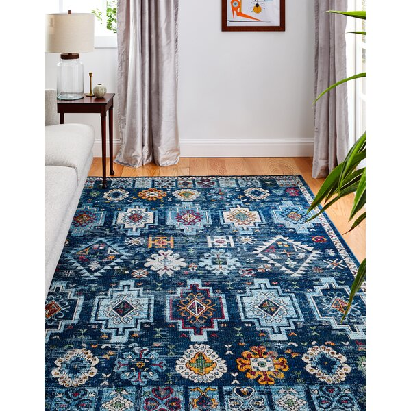 Goldie Blue Area Rug by Bungalow Rose
