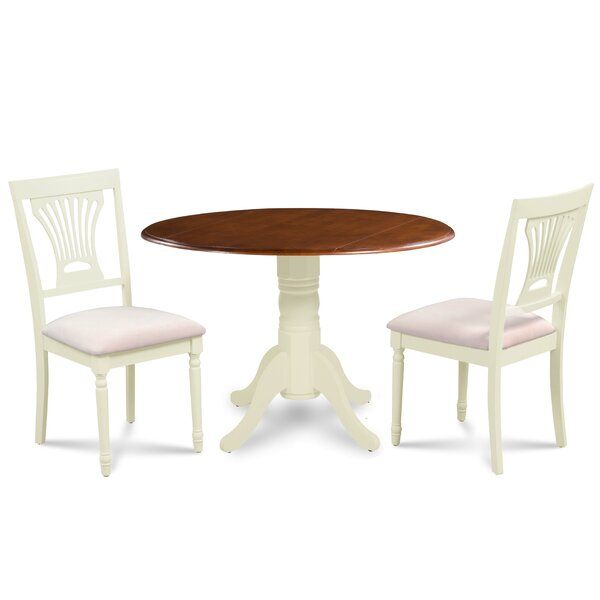 Koenig 3 Piece Drop Leaf Solid Wood Dining Set by August Grove