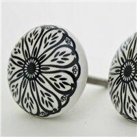 Intricate Floral Pattern Flat Ceramic Novelty Knob by MarktSq