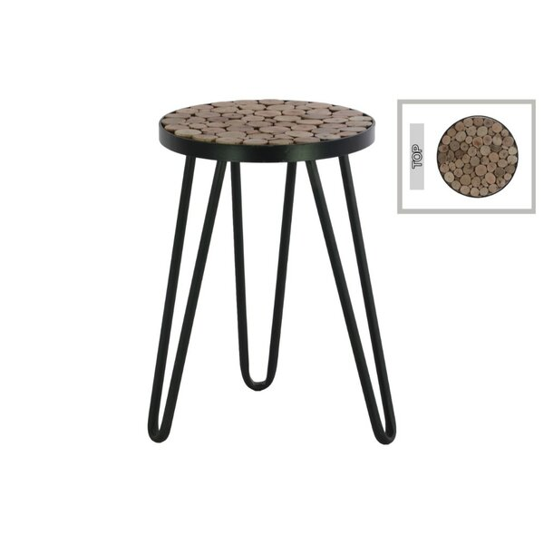 Sewell Metal Round Accent Stool by Union Rustic