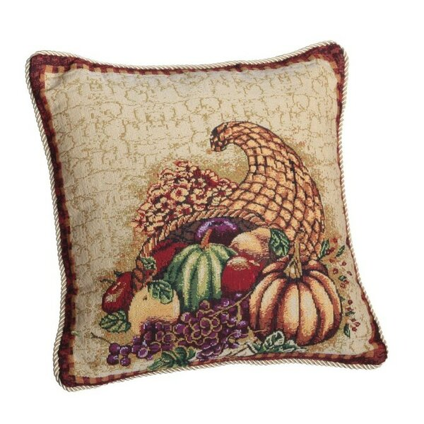 Fall Harvest Cornucopia with Pumpkins and Fruit Throw Pillow by Violet Linen