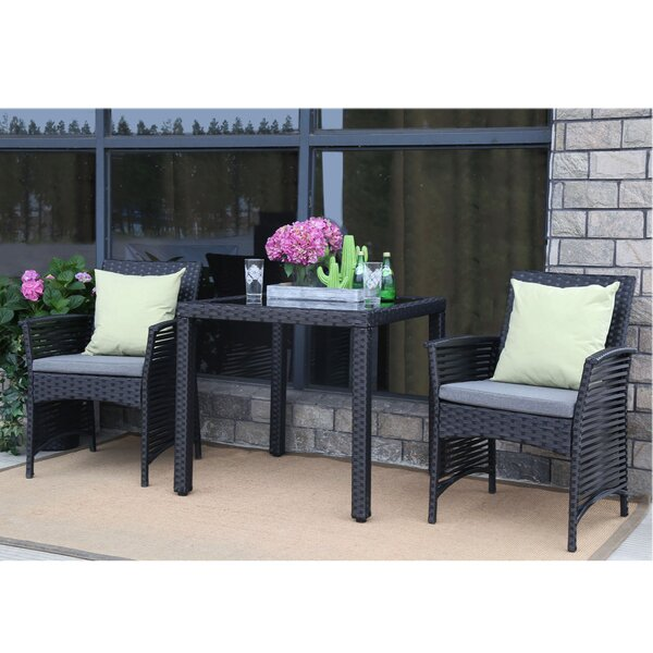 Clover Backyard Steel Frame 3 Pieces Dining Set with Cushions by Bay Isle Home
