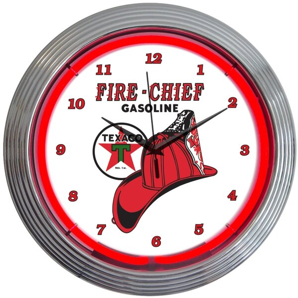 15 Texaco Fire Chief Neon Clock by Neonetics
