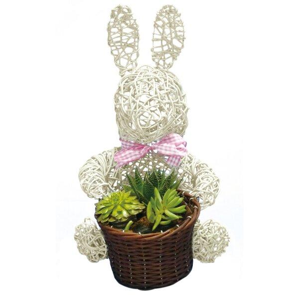 Bunny Topiary 10 Wicker Pot Planter by Gardener Select