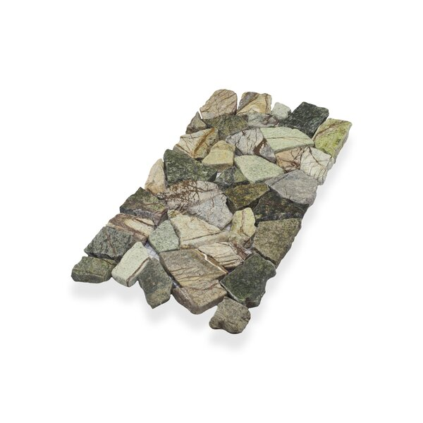 "Border Interlock Forest 6 x 11 3/4"" Natural Stone Pebbles/Rocks Tile in Green Brown Mix by Pebble Tile"