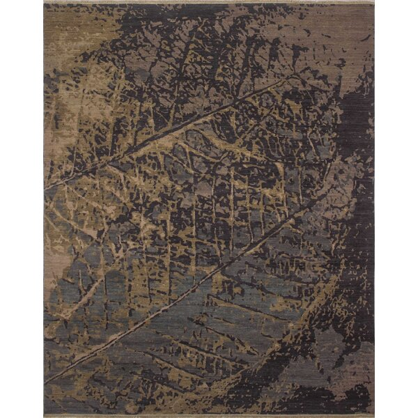 One-of-a-Kind Sandi Hand Knotted Wool Blue Abstract Area Rug by Isabelline