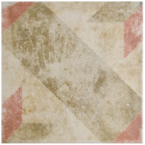 Herculanea 9.75 x 9.75 Star Porcelain Field Tile in Red/Brown by EliteTile