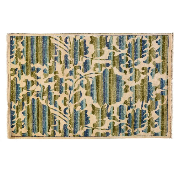 One-of-a-Kind Suzani Hand-Knotted Ivory Area Rug by Darya Rugs