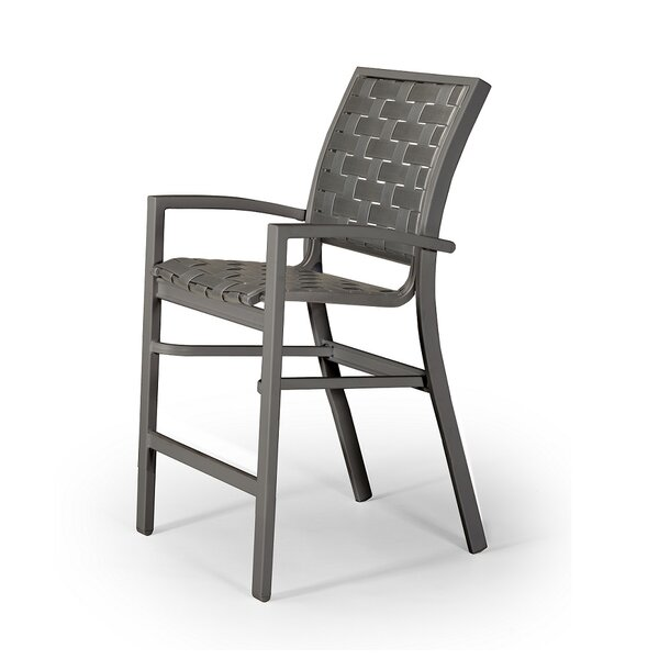 Kendall Contract Cross Strap Stacking 26 Patio Bar Stool by Telescope Casual