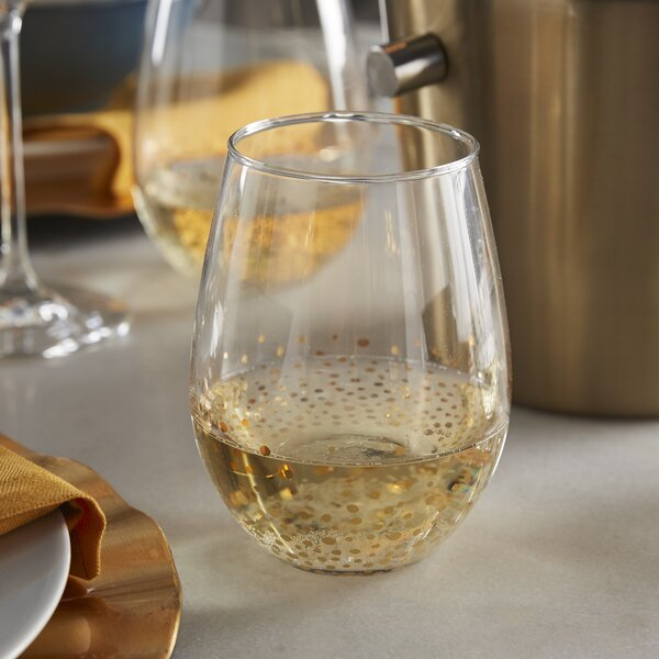 Gold Luster 20 oz. Stemless Wine Glass (Set of 4) by Fitz and Floyd
