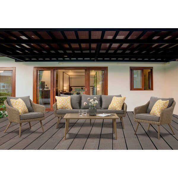 Jersey 4 Piece Rattan Sofa Seating Group with Cushions by Bayou Breeze