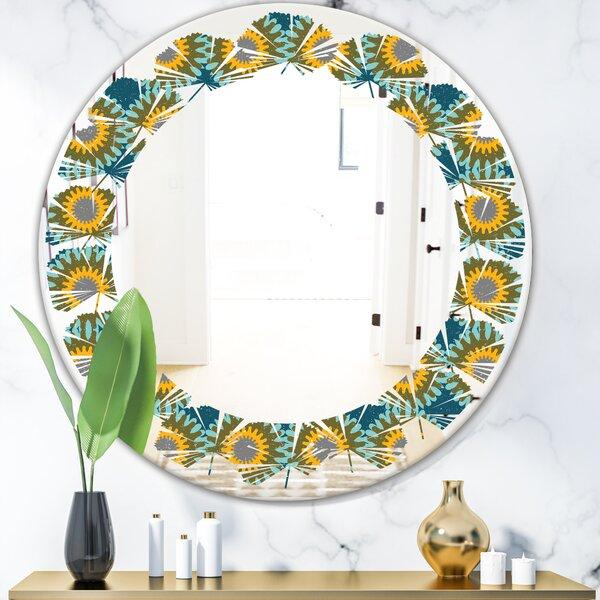 Leaves Circular Pattern I Cottage Americana Frameless Wall Mirror