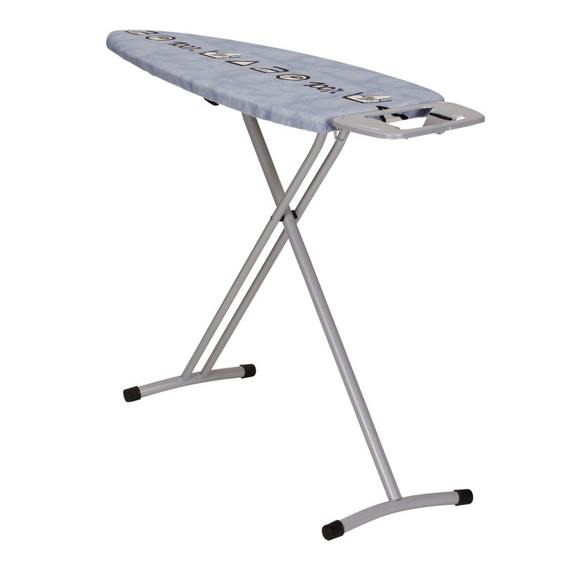 Wide Top Freestanding Ironing Board With Iron Rest And Symbol Cover