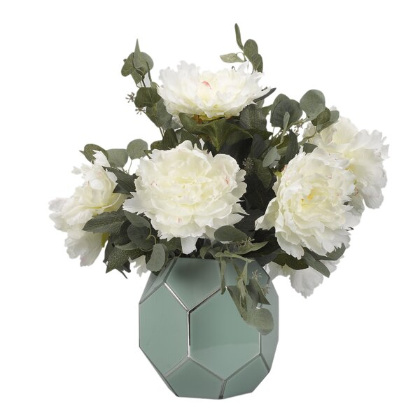 Peonies Floral Arrangement in Glass Vase by Brayden Studio