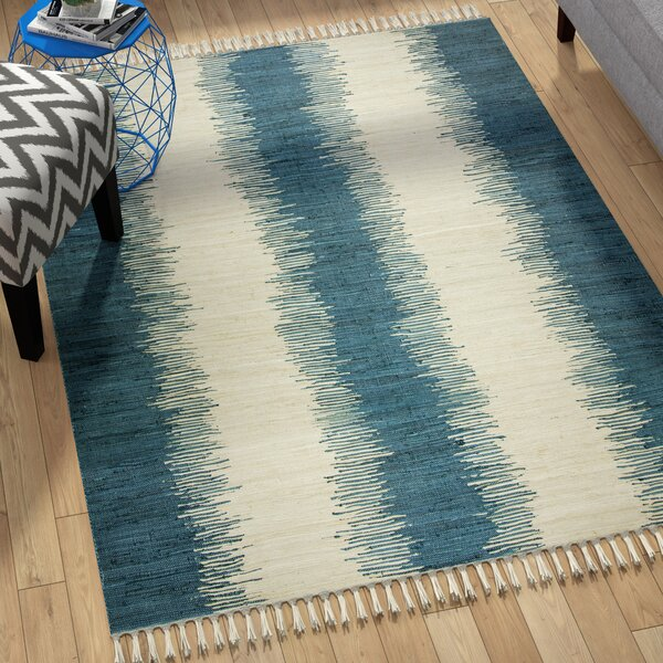 Telscombe Hand Woven Cotton Blue/Ivory Area Rug by Brayden Studio