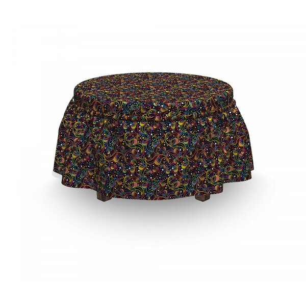 Abstract 60'S Jumble Inspirations 2 Piece Box Cushion Ottoman Slipcover Set By East Urban Home