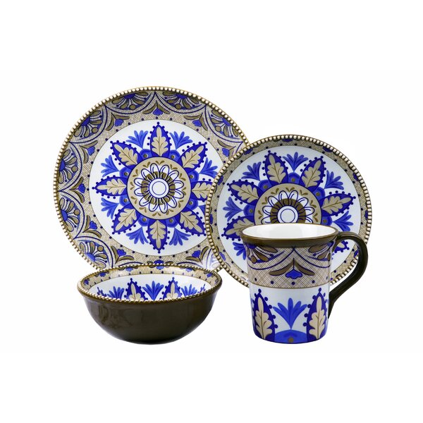 Bimini Beaded 16 Piece Dinnerware Set, Service for 4 by Lorren Home Trends