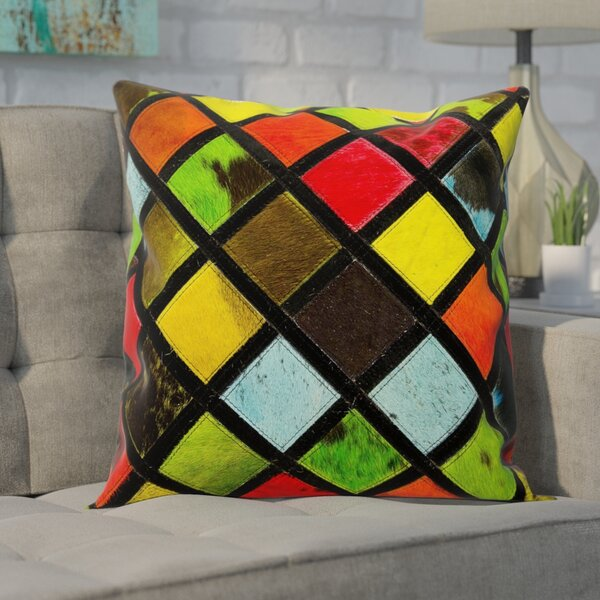 Natural Leather Hide Throw Pillow by Brayden Studio