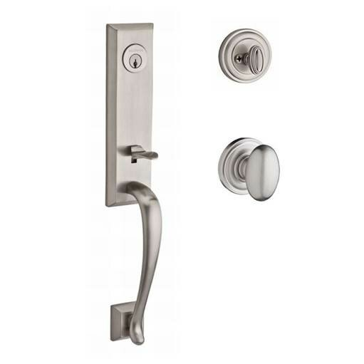 Del Mar Single Cylinder Handleset with Ellipse Door Knob and Traditional Round Rose by Baldwin
