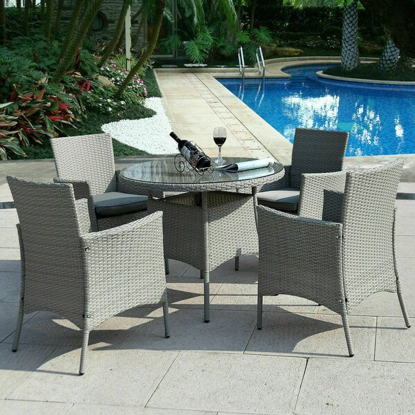 Woodacre 5 Piece Rattan Multiple Chairs Seating Group with Cushions by Bayou Breeze