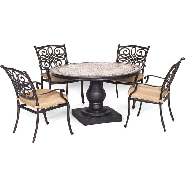 Bucci 5 Piece Dining Set With Cushions By Fleur De Lis Living