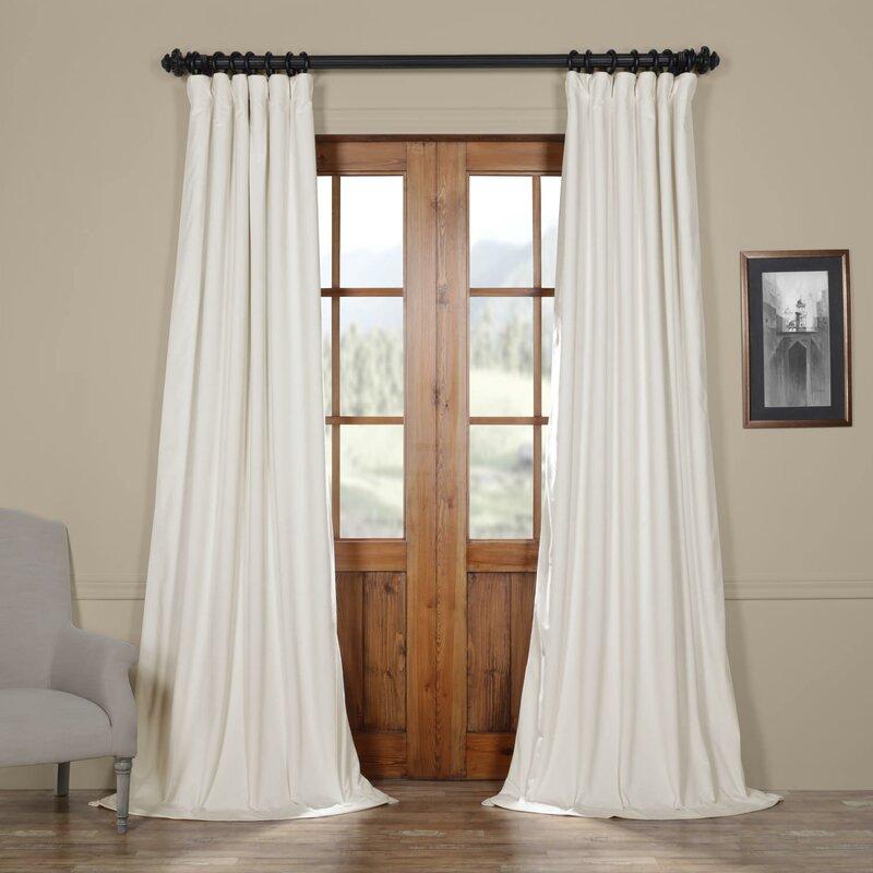 Albert Velvet Solid Blackout Rod Pocket Single Curtain Panel