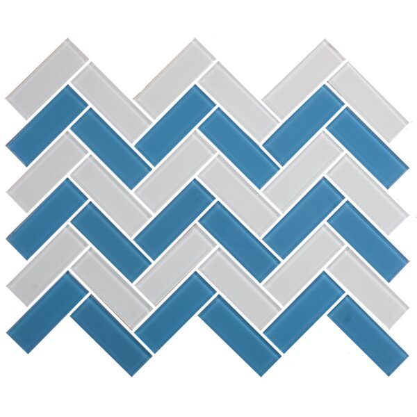 Signature Line Herringbone 1 x 3 Glass Subway Tile in Blue/Gray by Susan Jablon