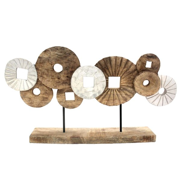 Mira Aged Mango Wood Abstract Circles Sculpture by Union Rustic