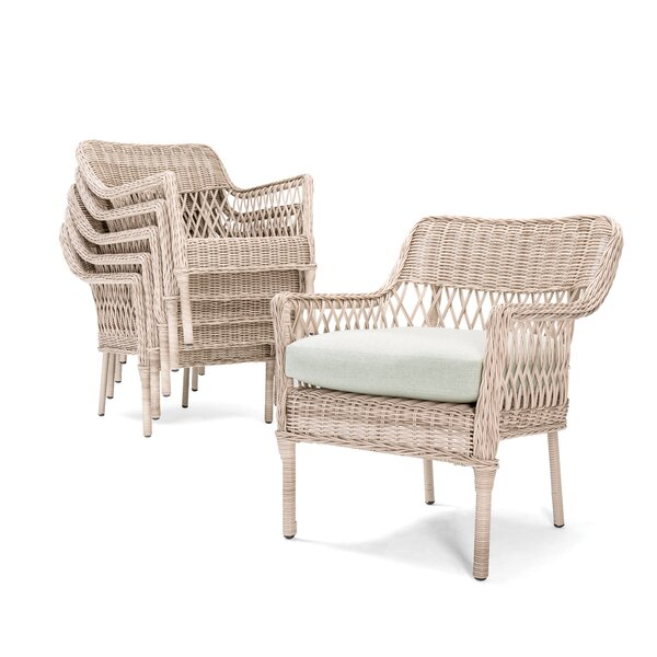 Willow Stacking Patio Dining Chair with Cushion (Set of 2) by Winston