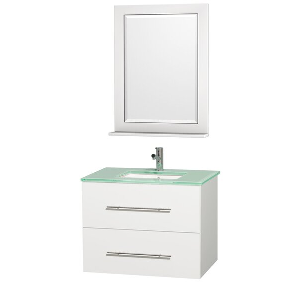 Centra 30 Single White Bathroom Vanity Set with Mirror by Wyndham Collection