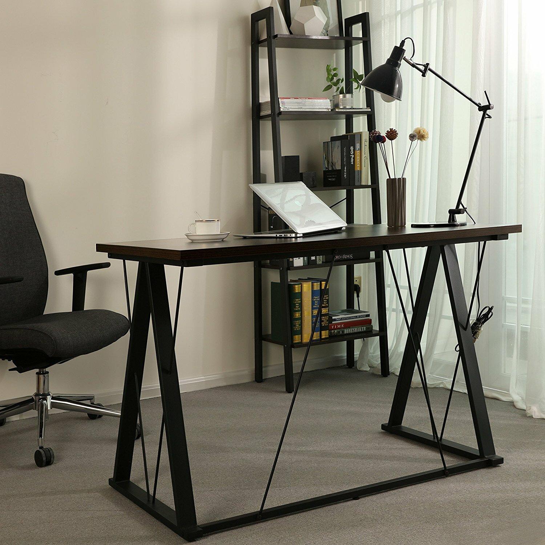 Rebrilliant Evenson Home Office Study Workstation Desk   Wayfair