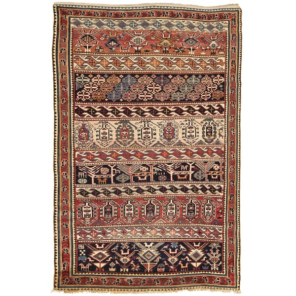 One-of-a-Kind Hand-Knotted Before 1900 Brown 3'6 x 5'5 Wool Area Rug