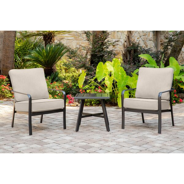 Colson 3-Piece Commercial-Grade Patio Seating Set with 2 Cushioned Club Chairs and a 22-In. Aluminum Slat-Top Side Table by Gracie Oaks