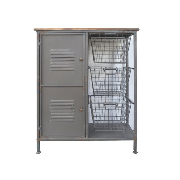Rinaldi Aged Metal and Blonde Wood 2 Doors Accent Cabinet by Williston Forge Williston Forge
