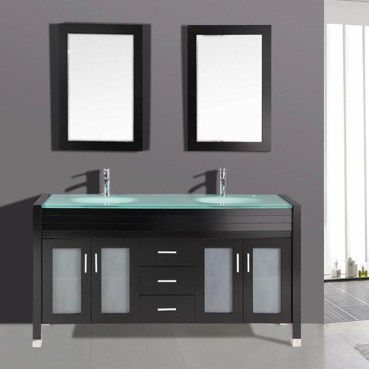 double bathroom sink. 63  Double Bathroom Vanity Set with Mirror Kokols Reviews Wayfair