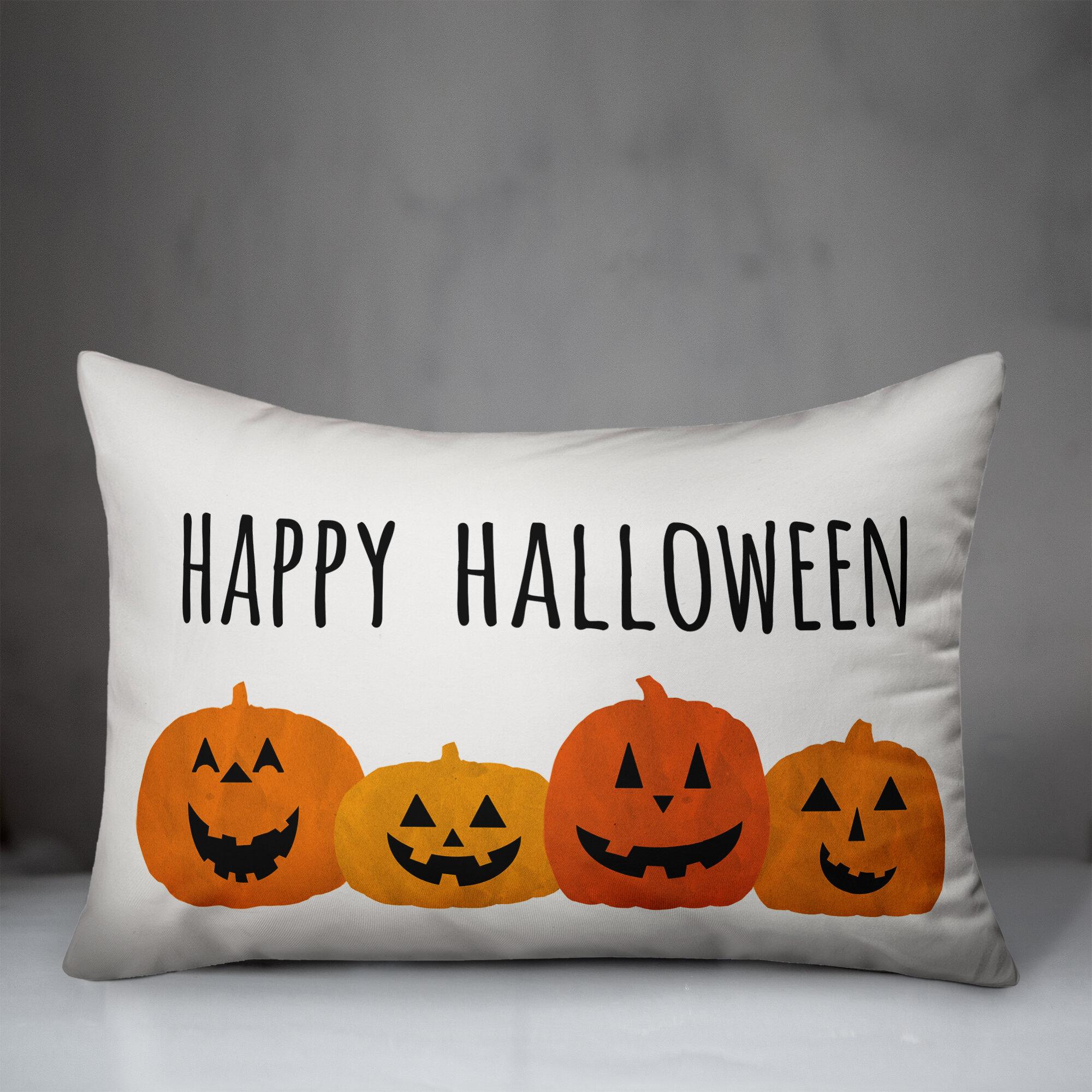 The Holiday Aisle Sowder Happy Halloween Pumpkins Lumbar Pillow