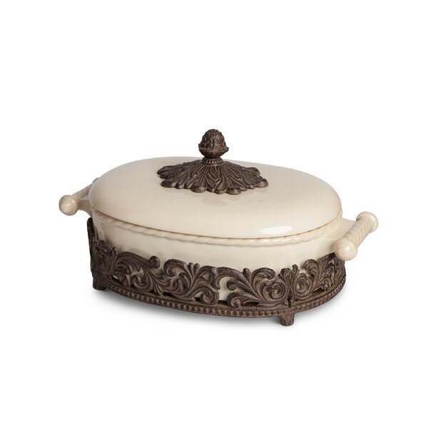 Covered Casserole with Metal Base by The GG Collection