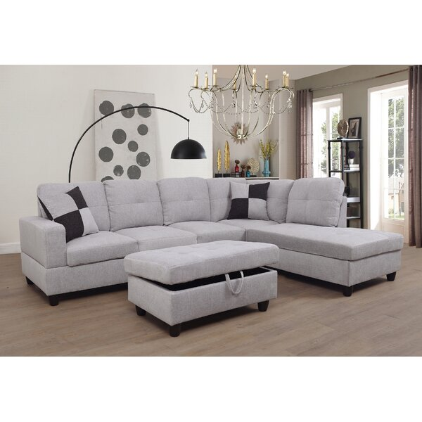 Coke Sectional with Ottoman by Ebern Designs