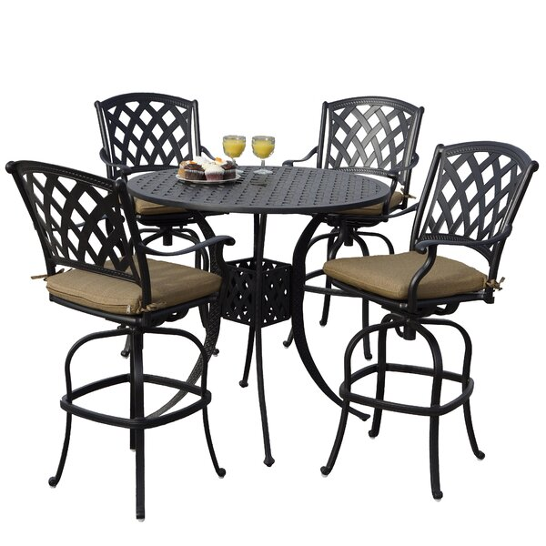 Campton 5 Piece Bar Height Dining Set with Cushions by Fleur De Lis Living