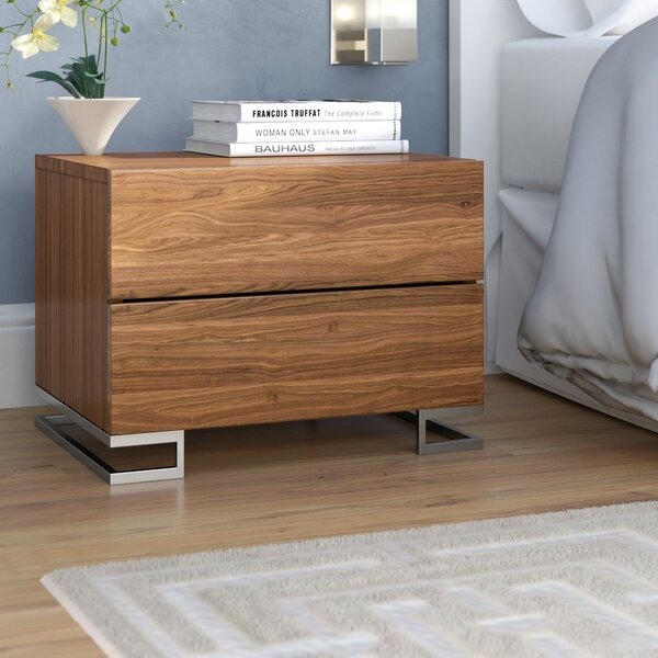 Domingo 2 Drawer Nightstand by Wade Logan