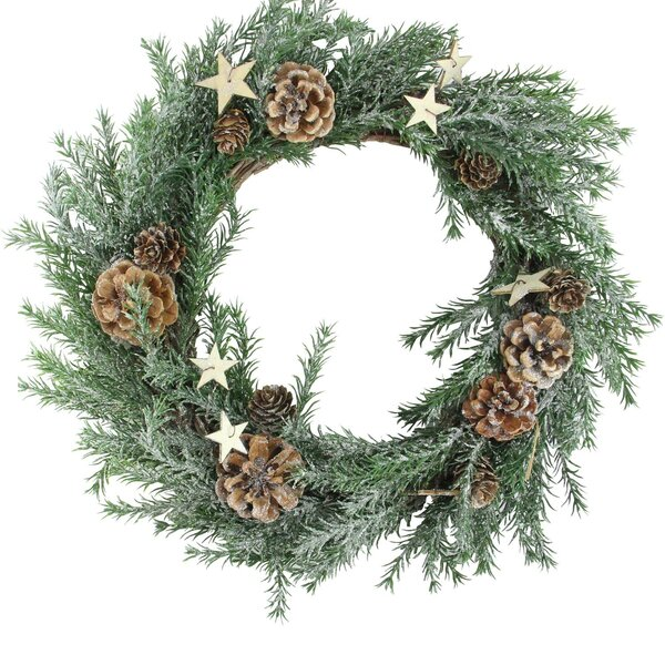 Classic Cone and Star Christmas 13 Pine Wreath by The Holiday Aisle