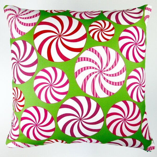 Christmas Field of Peppermint Candy Throw Pillow Cover by Artisan Pillows