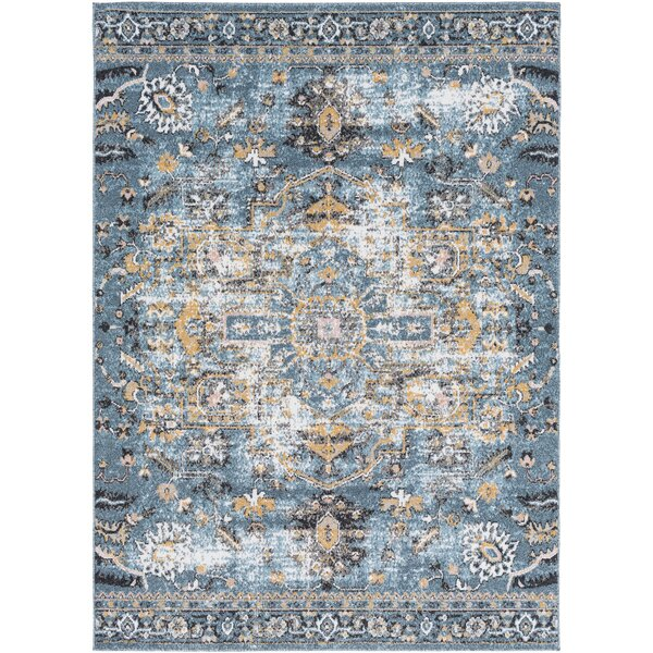 Merlene Distressed Aqua/Mustard Area Rug by Bungalow Rose