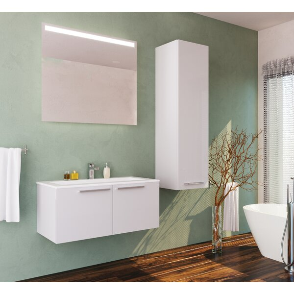 Nico 39 Wall-Mounted Single Bathroom Vanity Set with Mirror by Orren Ellis